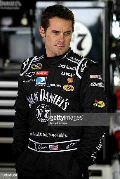Casey Mears driver of the Jack Daniel's Chevrolet stands in the garage during practice for the NASCAR Sprint Cup Series Goody�s Fast Pain Relief 500...
