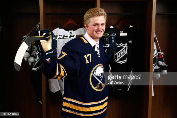 Casey Mittelstadt eighth overall pick of the Buffalo Sabres poses for a portrait during Round One of the 2017 NHL Draft at United Center on June 23...