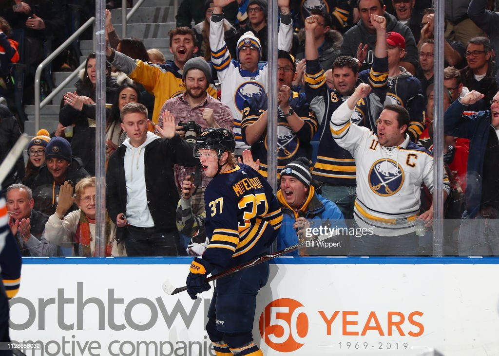 Casey Mittelstadt of the Buffalo Sabres celebrates his first period