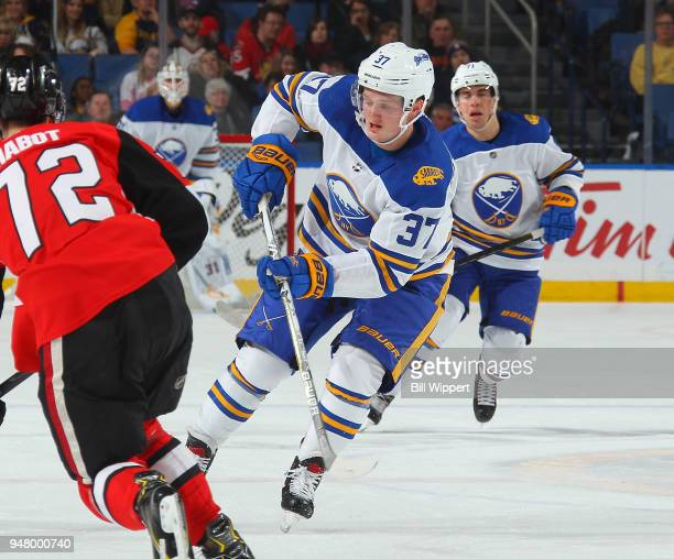 Casey Mittelstadt of the Buffalo Sabres skates during an NHL game against the Ottawa Senators on April 4 2018 at KeyBank Center in Buffalo New York...