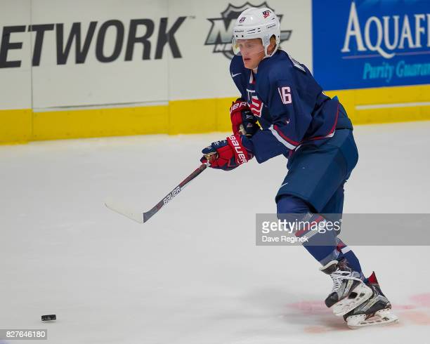 Casey Mittelstadt of the USA skates up ice with the puck against Sweden during a World Jr Summer Showcase game at USA Hockey Arena on August 2 2017...