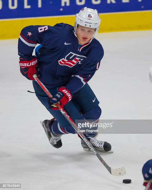 Casey Mittelstadt of the USA turns up ice with the puck against Sweden during a World Jr Summer Showcase game at USA Hockey Arena on August 2 2017 in...