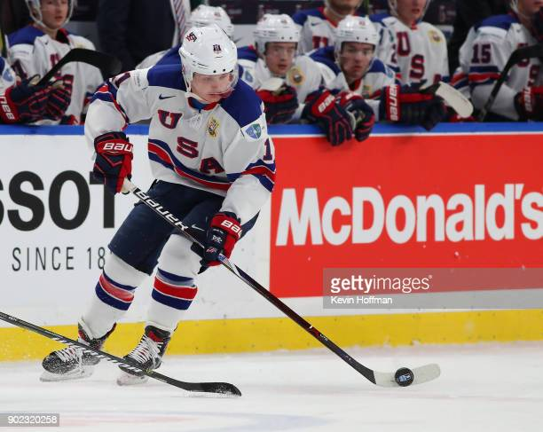 Casey Mittelstadt of United States against Czech Republic during the Bronze Medal Game of the IIHF World Junior Championship at KeyBank Center on...