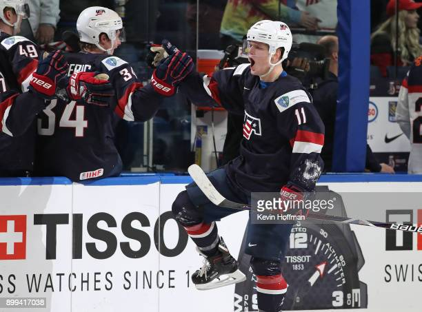 Casey Mittelstadt of United States celebrates after scoring a goal against Slovakia in the third period during the IIHF World Junior Championship at...