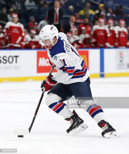Casey Mittelstadt of United States during the IIHF World Junior Championship against Denmark at KeyBank Center on December 26 2017 in Buffalo New York