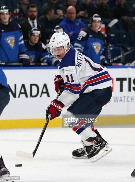 Casey Mittelstadt of United States in the third period against Finland during the IIHF World Junior Championship at KeyBank Center on December 31...