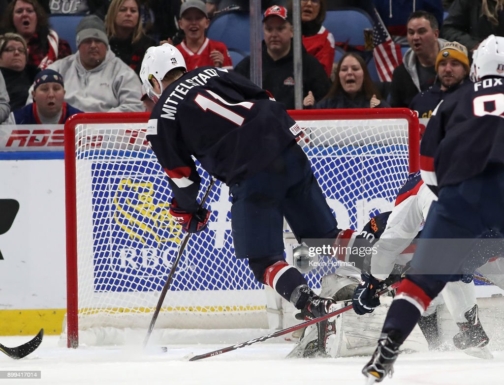 Casey Mittelstadt #11 of United States scores a goal in the third period against Slovakia during the IIHF World Junior Championship at KeyBank Center on December 28, 2017 in Buffalo, New York. Slovakia beat the United States 3-2.