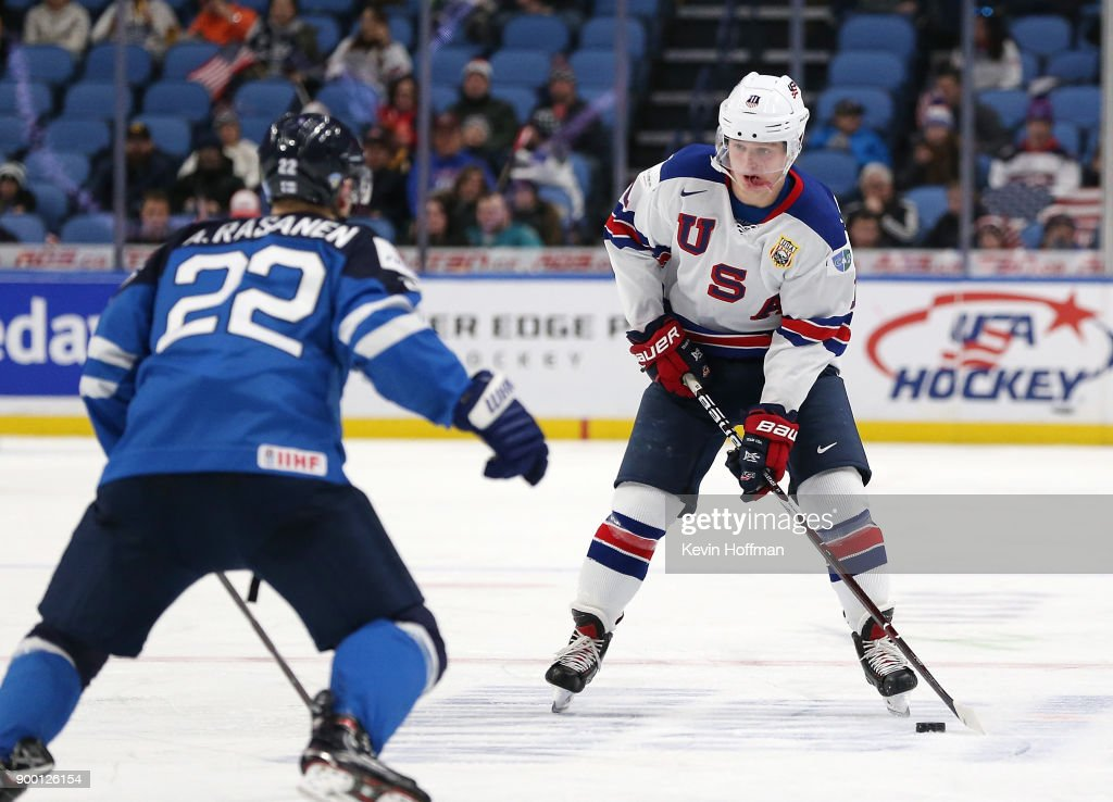 Casey Mittelstadt #11 of United States skates up ice with the puck as Aapeli Rsnen #22 of Finland defends in the third period during the IIHF World Junior Championship at KeyBank Center on December 31, 2017 in Buffalo, New York. The United States beat Finland 5-4.