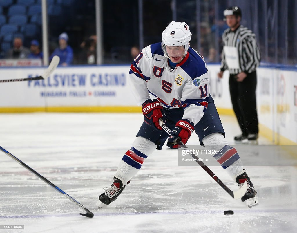 Casey Mittelstadt #11 of United States skates up ice with the puck in the first period against Finland during the IIHF World Junior Championship at KeyBank Center on December 31, 2017 in Buffalo, New York.