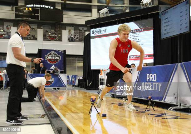 Casey Mittelstadt performs the Pro Agility test during the NHL Combine at HarborCenter on June 3 2017 in Buffalo New York