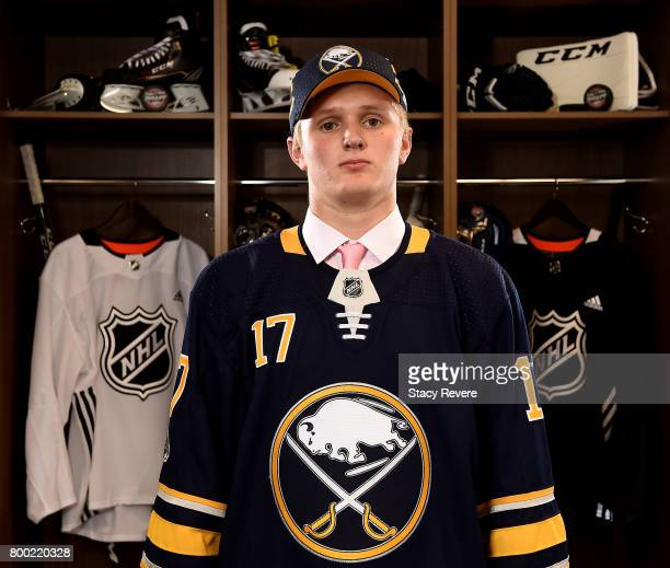 Casey Mittelstadt poses for a portrait after being selected eighth overall by the Buffalo Sabres during the 2017 NHL Draft at the United Center on...
