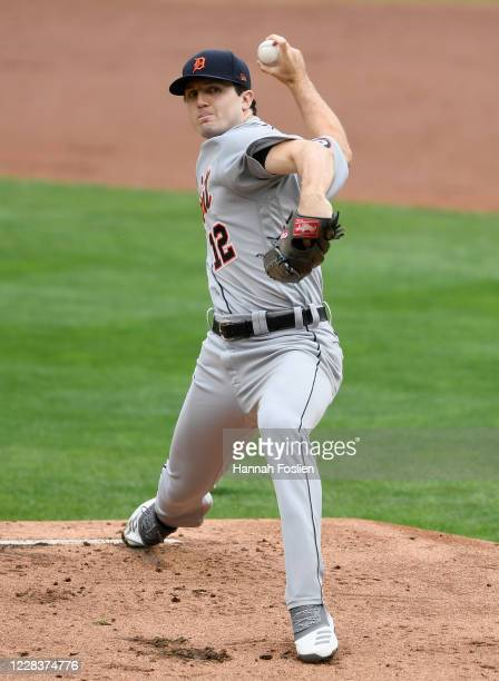 Casey Mize of the Detroit Tigers delivers a pitch against the Minnesota Twins during the first inning of the game at Target Field on September 6,...
