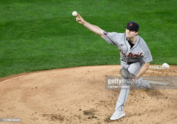 Casey Mize of the Detroit Tigers delivers a pitch against the Minnesota Twins during the second inning of the game at Target Field on September 23,...