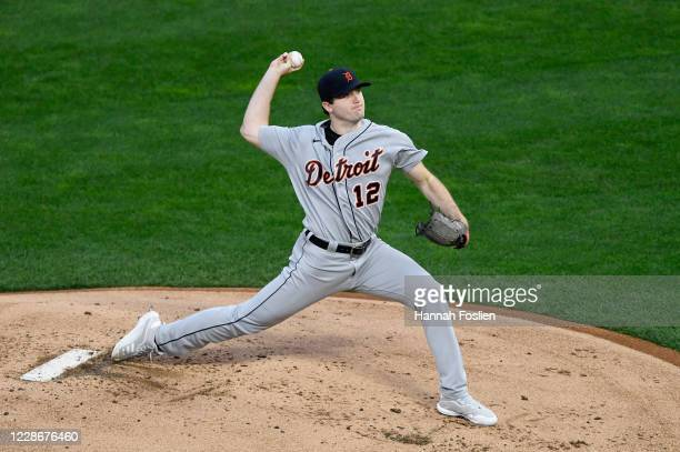 Casey Mize of the Detroit Tigers delivers a pitch against the Minnesota Twins during the first inning of the game at Target Field on September 23,...