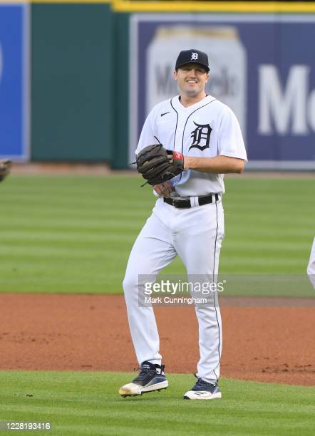 Casey Mize of the Detroit Tigers looks on during the game against the Chicago Cubs at Comerica Park on August 24, 2020 in Detroit, Michigan. The Cubs...