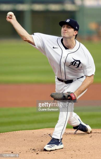 Casey Mize of the Detroit Tigers pitches against the Chicago Cubs during the first inning at Comerica Park on August 24 in Detroit, Michigan.