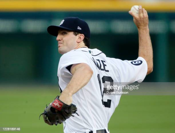 Casey Mize of the Detroit Tigers pitches against the Chicago Cubs during the second inning at Comerica Park on August 24 in Detroit, Michigan.