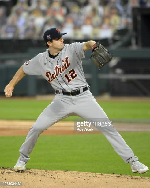 Casey Mize of the Detroit Tigers pitches against the Chicago White Sox on September 11, 2020 at Guaranteed Rate Field in Chicago, Illinois.
