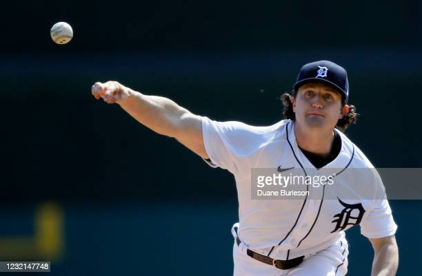 Casey Mize of the Detroit Tigers pitches against the Minnesota Twins during the first inning at Comerica Park on April 6, 2021 in Detroit, Michigan.