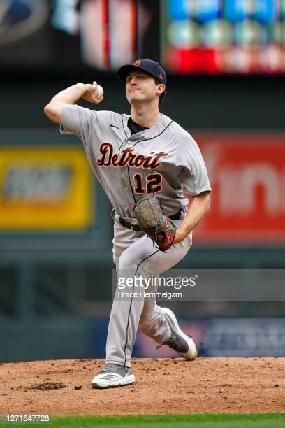 Casey Mize of the Detroit Tigers pitches against the Minnesota Twins on September 6, 2020 at Target Field in Minneapolis, Minnesota.