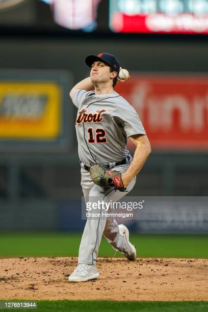 September 23: Casey Mize of the Detroit Tigers pitches against the Minnesota Twins on September 23, 2020 at Target Field in Minneapolis, Minnesota.