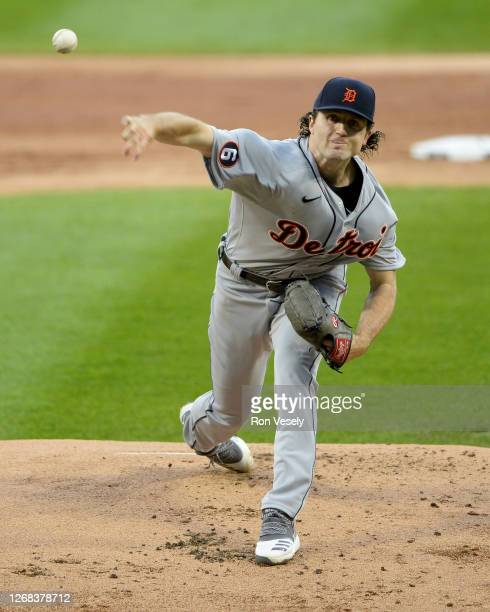 Casey Mize of the Detroit Tigers pitches during his Major League debut against the Chicago White Sox on August 19, 2020 at Guaranteed Rate Field in...