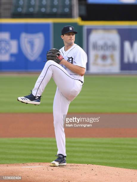 Casey Mize of the Detroit Tigers pitches during the game against the Chicago Cubs at Comerica Park on August 24, 2020 in Detroit, Michigan. The Cubs...