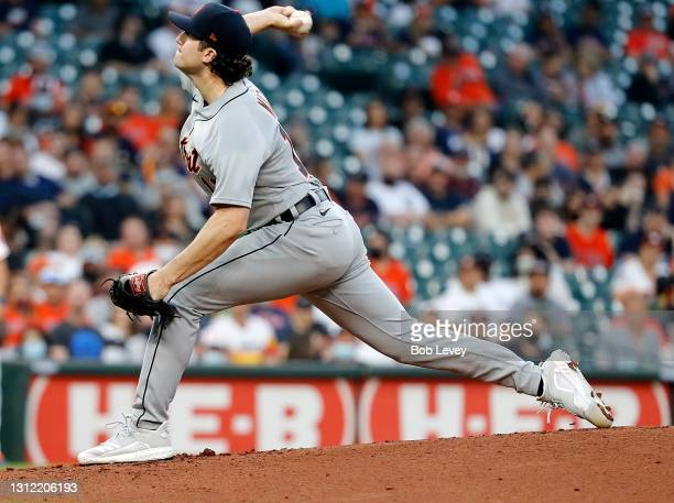 Casey Mize of the Detroit Tigers pitches in the first inning against the Houston Astros at Minute Maid Park on April 12, 2021 in Houston, Texas.