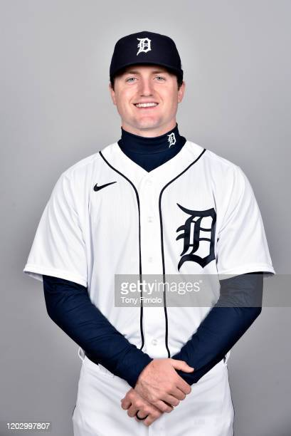 Casey Mize of the Detroit Tigers poses during Photo Day on Wednesday, February 20, 2020 at Publix Field at Joker Marchant Stadium in Lakeland,...