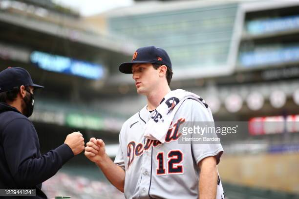 Casey Mize of the Detroit Tigers prior to his start during the game between the Detroit Tigers and the Minnesota Twins at Target Field on Sunday,...