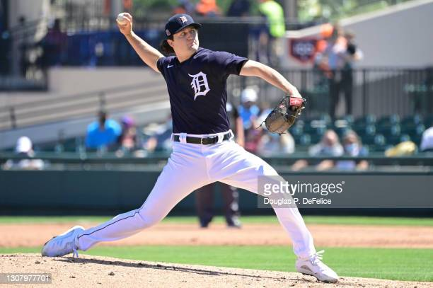 Casey Mize of the Detroit Tigers throws a pitch during the second inning against the Toronto Blue Jays during a spring training game at Publix Field...