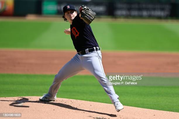 Casey Mize throws a pitch during the first inning against the Pittsburgh Pirates during a spring training game at LECOM Park on March 02, 2021 in...