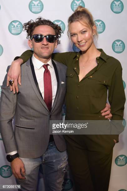 Casey Neistat and Karlie Kloss pose backstage at the The 9th Annual Shorty Awards on April 23 2017 in New York City