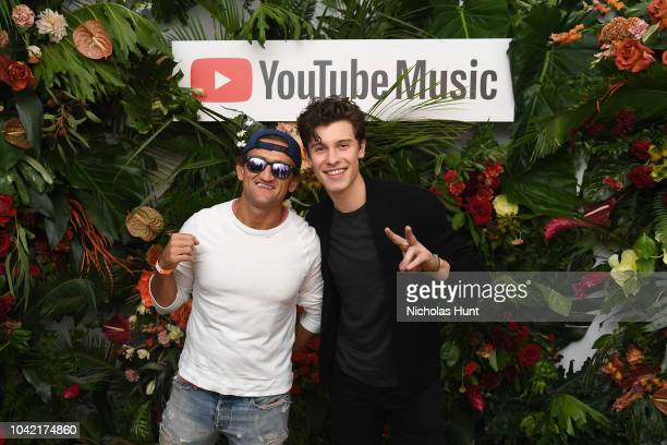 Casey Neistat and Shawn Mendes attend a special screening presented by YouTube Music of Shawn Mendes YouTube Artist Spotlight Story on September 27...