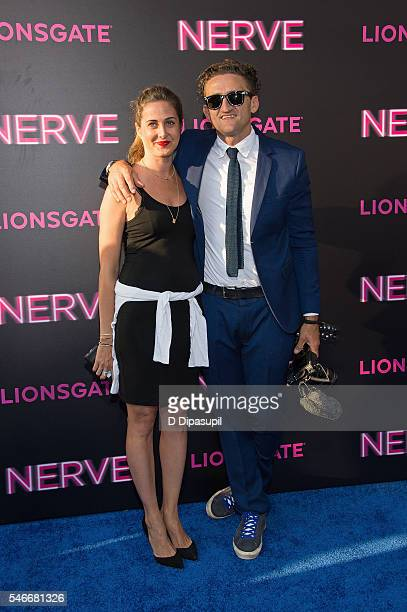 Casey Neistat and wife jewelry designer Candice Pool attend the 'Nerve' New York premiere at SVA Theater on July 12 2016 in New York City