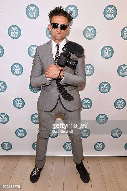 Casey Neistat poses backstage at The 8th Annual Shorty Awards at The Times Center on April 11, 2016 in New York City.