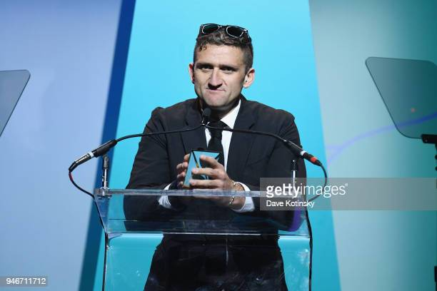 Casey Neistat speaks onstage during the 10th Annual Shorty Awards at PlayStation Theater on April 15 2018 in New York City