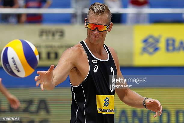 Casey Patterson of the United States in action during main draw match against Germany during the FIVB Fortaleza Open on Futuro Beach on April 30 2016...