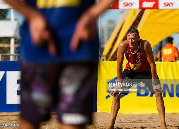 Casey Patterson of the United States looks on during the main draw match against Chile at Camburi beach during day three of the FIVB Beach Volleyball...