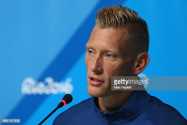 Casey Patterson of the USA Men's beach volleyball team speaks to the media during a press conference on August 2 2016 in Rio de Janeiro Brazil