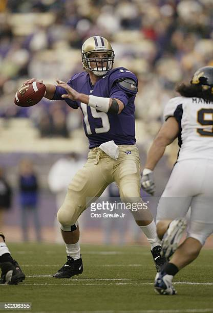 Casey Paus of the Washington Huskies sets to pass during the game against the California Golden Bears on November 13 2004 at Husky Stadium in...