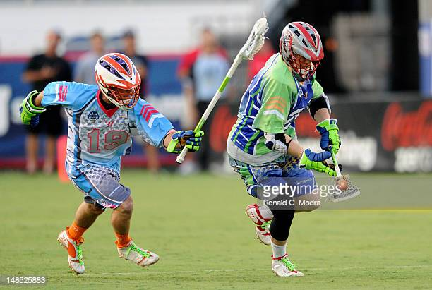Casey Powell of Team Old School looks to score during the FreeStyle competition during the MLL AllStar game at FAU Stadium on June 30 2012 in Boca...