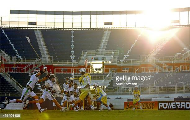Casey Powell of the Florida Launch takes a shot on goal during a game against the Chesapeake Bayhawks at FAU Stadium on June 28 2014 in Boca Raton...