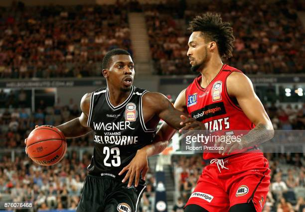 Casey Prather of Melbourne drives to the basket during the round seven NBL match between Melbourne and Perth on November 19 2017 in Melbourne...