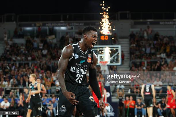 Casey Prather of Melbourne United celebrates a three pointer during the round 19 NBL match between Melbourne United and the Perth Wildcats at Hisense...