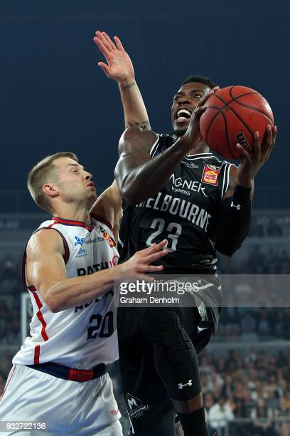 Casey Prather of Melbourne United drives at the basket during game one of the NBL Grand Final series between Melbourne United and the Adelaide 36ers...