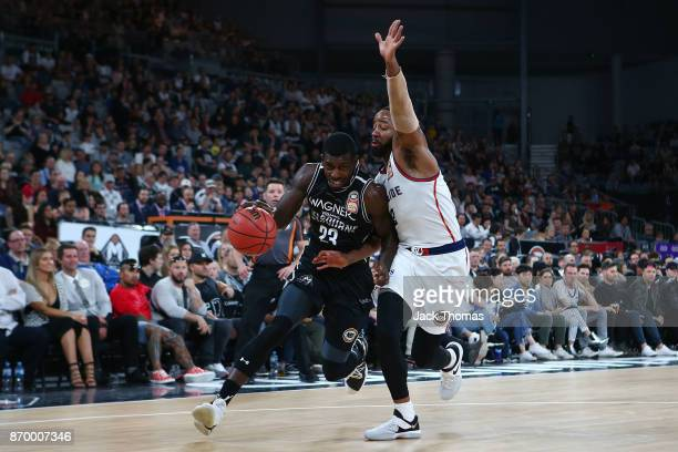 Casey Prather of Melbourne United drives to the basket during the round five NBL match between Melbourne United and the Adelaide 36ers at Hisense...