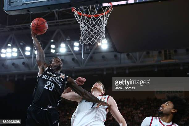 Casey Prather of Melbourne United dunks the ball during the round five NBL match between Melbourne United and the Adelaide 36ers at Hisense Arena on...