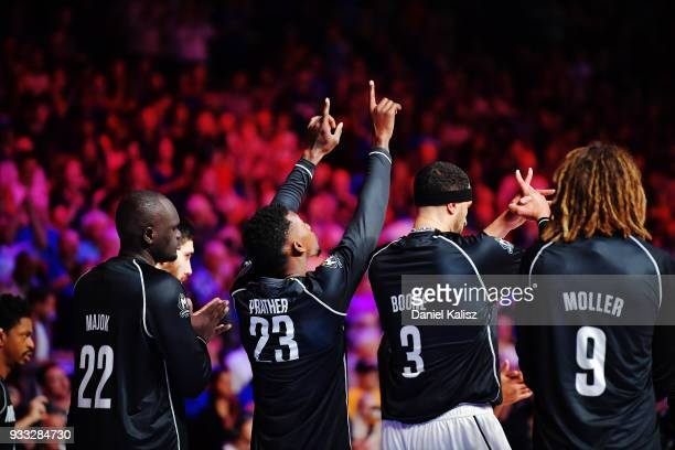 Casey Prather of Melbourne United reacts prior to game two of the NBL Grand Final series between the Adelaide 36ers and Melbourne United at Titanium...