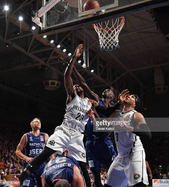 Casey Prather of Melbourne United shoots during game two of the NBL Grand Final series between the Adelaide 36ers and Melbourne United at Titanium...